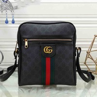 GUCCI 2019 new men's casual classic double G printing retro striped shoulder bag Messenger bag #3