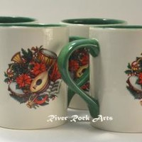 Green Christmas Musical Instruments Ceramic Mug Set (4)