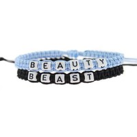 4 Colors available Couple Bracelets Lovers Gift beauty beast Matching Jewelry Braided rope bangle