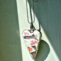 Etsy Mosaic Heart Pendant - Debbie - Stained Glass, Heart Art, Pink, Wearable Art - Broken China Mosaic Pendant - Measures 2 inches x 1 inch