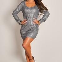 Sexy Olive Dazzling Long-Sleeve Sequin Party Dress