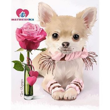 5D Diamond Painting Chihuahua and Rose Kit