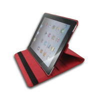 iPad 2/ 3 Standing 360 Degree Red Leather Case