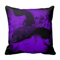 Purple Witch Pillow Pagan Wiccan Cushion