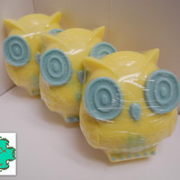 Owl Soap Bar - SALE Ready to Ship - Lemon Cake Scented - Shea Butter Soap, Handmade Soap, Limited Edition