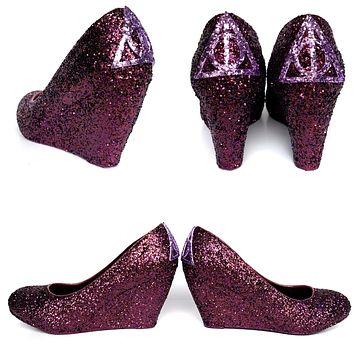 Deathly Hallows Wedge Glitter Heels - Harry Potter Low Wedding Wedges