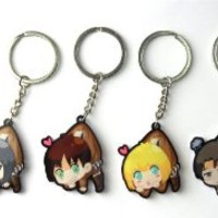 Attack on Titan Cosplay Shingeki no Kyojin Eren Mikasa Armin Levi A Set of 4 Keychains Cosplay Pro Coslive