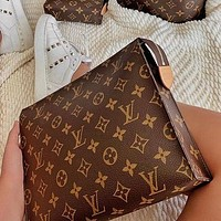 LV Louis Vuitton Classic Full Letter Clutch Cosmetic Bag