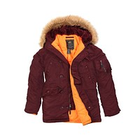 Alpha Industries Men's Slim Fit N-3B Parka Fur Hooded Jacket Maroon