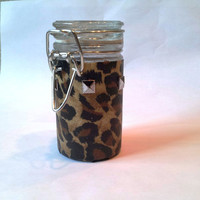 Leopard Latch top Stash Jar