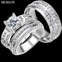 Charm Couple Rings His Her 316L Stainless Steel Princess Cut CZ Anniversary Promise Wedding Engagement Ring Sets
