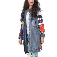 Comic Denim distressed long jacket