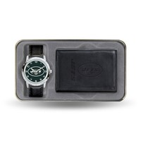 New York Jets Watch & Leather Trifold Wallet Set (Jet Team)