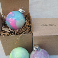 Set of 4 GLOW In The Dark ornaments, Hand painted glass, one of a kind Christmas Ornaments