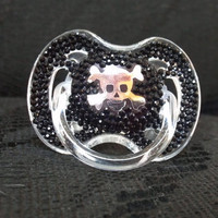 BLINKY'S skull decal rhinestone pacifier with crystal bling