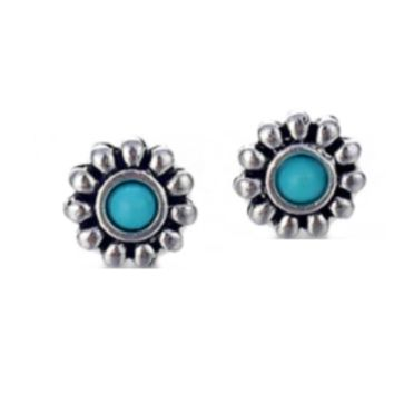 Flower Totem Turquoise Stud Earrings