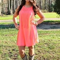 One Way Ticket Neon Coral Dress