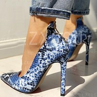 high heel snake texture back zipper pointed large size single shoes blue