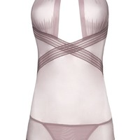 Sexy Plus Size Collared Babydoll with Elastic Detail and G-String