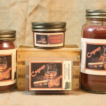 Cognac and Cubans Candle and Wax Melts, Male Fragrance Scented Candles and Wax Tarts, Gift for Him, Masculine Scent Candle, Mason Jar Candle