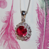 Ruby Necklace, Ruby & Diamonds, Sterling Silver Halo Pendant With Chain
