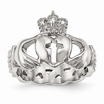 Stainless Steel Braided Back Cross Heart Claddagh Ring