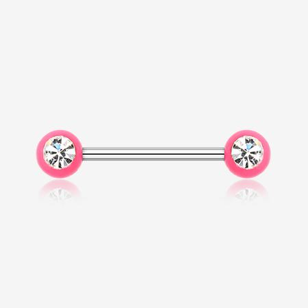 Image of A Pair of Acrylic Gem Ball Nipple Barbell Ring