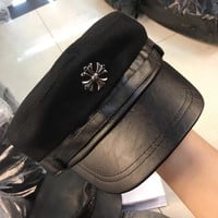 """Chrome Hearts"" Unisex Simple Fashion PU Leather Woolen Flat Cap Couple Hat Service Cap"