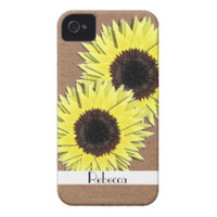 Sunny Yellow Sun Flower Heads iPhone 4 Case-Mate Cases