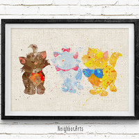 Disney Marie and Brothers Watercolor Art Print, Baby Room, Nursery Wall Art, Home Decor, Not Framed, Buy 2 Get 1 Free!