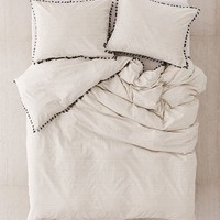 Washed Cotton Striped Tassel Duvet Cover | Urban Outfitters