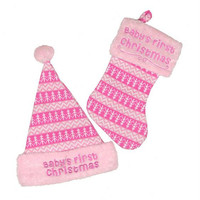 """Hat And Stocking -  """" Baby's First Christmas """"  For Girl"""
