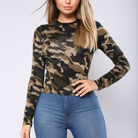 Can't Switch On Me Top - Camouflage