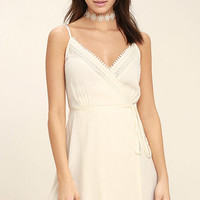 Everything About You Cream Lace Wrap Dress