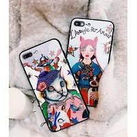 Gucci Stylish iPhone 6 plus Cute Pattern iPhone X Glass Protective iPhone Shell Lovers Phone Case