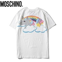 Moschino New fashion letter rainbow unicorn couple top t-shirt White