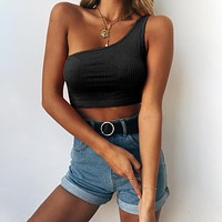 Solid Color Simple Stretch Sleeveless Single Shoulder Vest Crop Tops