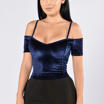 Who's That Chick Velvet Top? - Navy