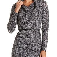 COWL NECK BELTED SWEATER TUNIC
