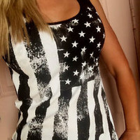 USA AMERICAN FLAG  BLUE loose fit tank top sleeveless cotton S