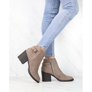 Diamond Perforated Back Buckle Faux Suede Ankle Bootie in Light Taupe
