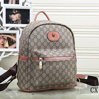 Gucci Fashion Letter Print Leather Bookbag Shoulder Bag Handbag Backpack Pink I