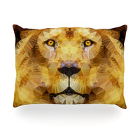 "Ancello ""Lion King"" Yellow Brown Oblong Pillow"
