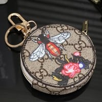 GUCCI Cute Key Bag Coin Purse Flower Bee Print Bag Red