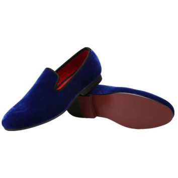 Blue Velvet Slip-on Loafers