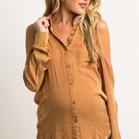 Rust Faded Cold Shoulder Button Down Maternity Top
