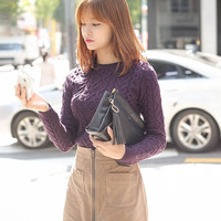 Ribbed Knitted Pullover Sweater
