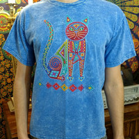 Vintage 1990s 90s acid stone washed southwest western style cat art print tee Men's small blue t shirt awesome trippy