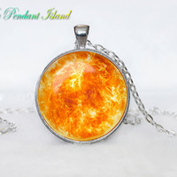 SUN Pendant  SUN Necklace Galaxy necklace Space pendant sun orange Jewelry Necklace for him  Art Gifts for Her(P11H07V04)