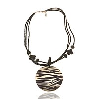 Abalone Beaded Statement Graphic Necklace Zebra